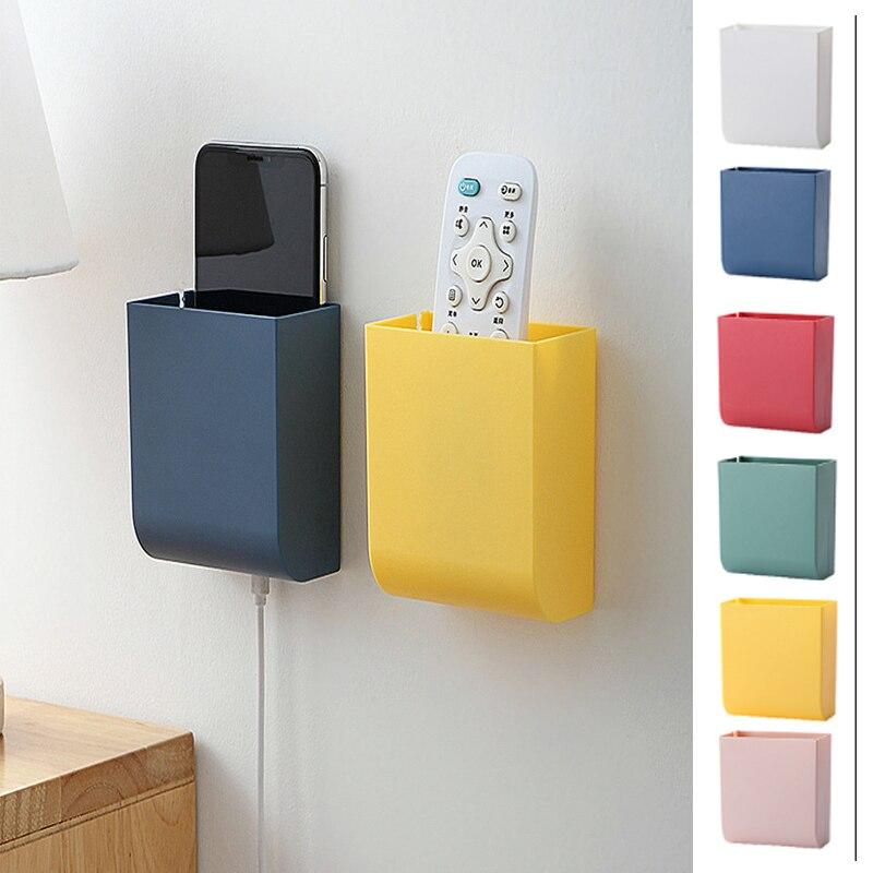 Montado en la pared de caja de almacenamiento para mandos a distancia dispositivo organización Puerta de baño Teléfono de Escritorio TV teléfono móvil estante estuche protector
