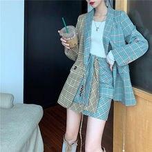 NiceMix simple boutonnage plaid deux pièces femmes jupe costume décontracté streetwear femme ensembles mode bureau dames blazer costumes nouveau