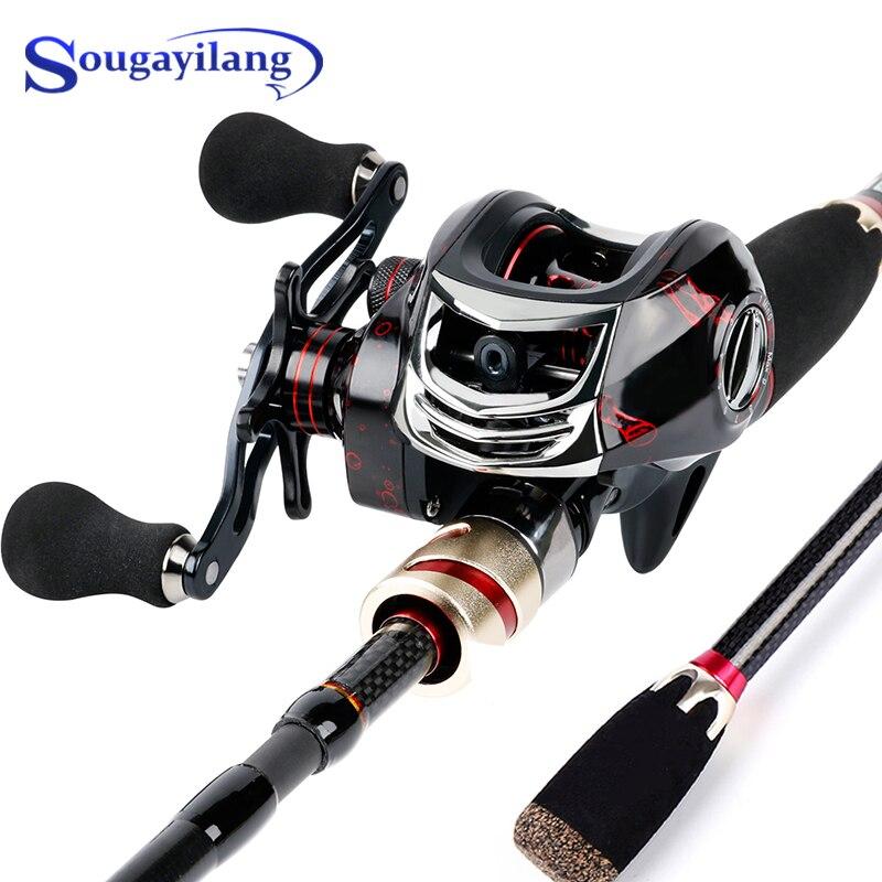 Sougayilang 4 قسم ألياف الكربون قضيب مسبوك و 17 + 1BB 7.2:1 عالية السرعة baitcast بكرة الصيد كومبو المحمولة للسفر
