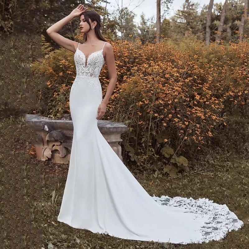 Review ChuYu Sexy Charming Summer V-neck Slim Bridal Wedding Dresses Sleeveless Spaghetti Straps  Appliqued Pleat Mermaid New