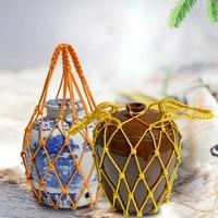 1pcs bag carrier hand woven net pocket for wine jar wine jar handicraft rope net bag single bottle natural hemp rope mesh bag