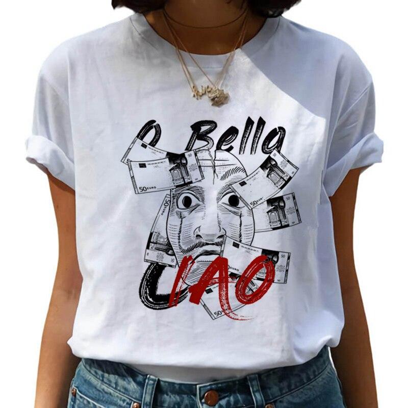 La Casa De Papel Women T-shirt Harajuku Letters Print Short Sleeve Funny tee Silver Paper Case Hip Hop Top White Female T-shirts