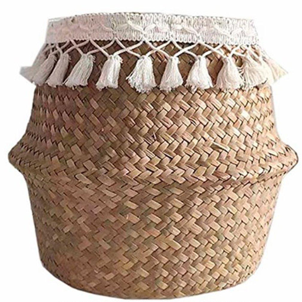 Flower Basket Fringed Hand-woven Seagrass Basket Creative Household Items Folding Beautiful Straw Flower Basket