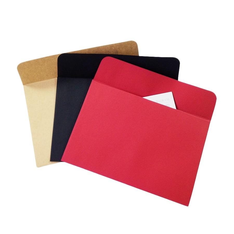 10 шт./лот, красно-черная крафт-бумага, конверт, канцелярские открытки, красочная крафт-бумага