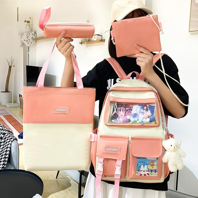 Fashion Cute Canvas Female Schoolbag Large-Capacity College Student Bookbag Middle School Student Backpack Four-Piece Mochila недорого