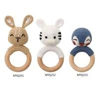 1pc baby rattle crochet animal baby teether wooden ring handmade toy bpa free wood teething bracelet nurse gift baby product