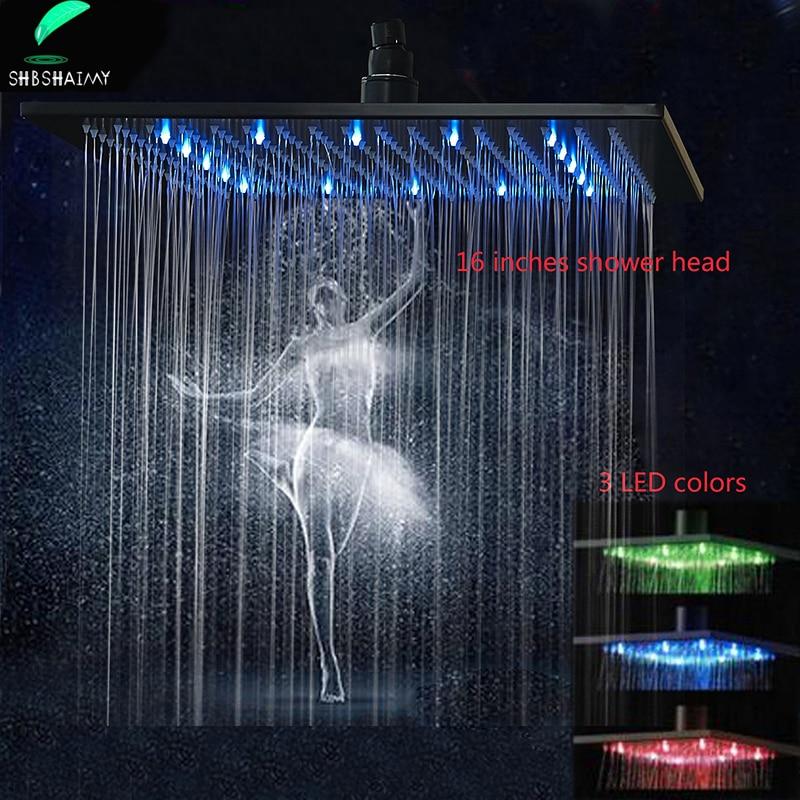 SHBSHAIMY-رأس دش كبير 16 بوصة LED ، كروم ، هطول الأمطار ، صنبور حمام ، بخاخ مربع من الفولاذ المقاوم للصدأ ، أسود