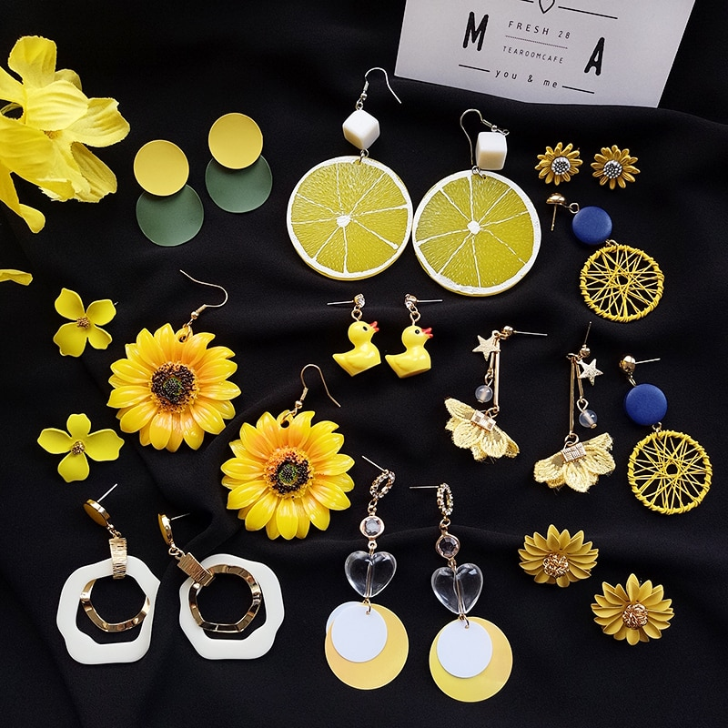 Earrings 2020 New Trendy Long Female Graceful and Fashionable Personality Sunflower Earrings Indie E