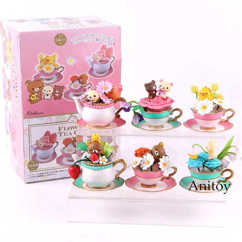 Figura DE ACCIÓN DE Rilakkuma, set de 6 muñecos coleccionables de PVC con forma de oso, flor, taza de té, Rilakkuma