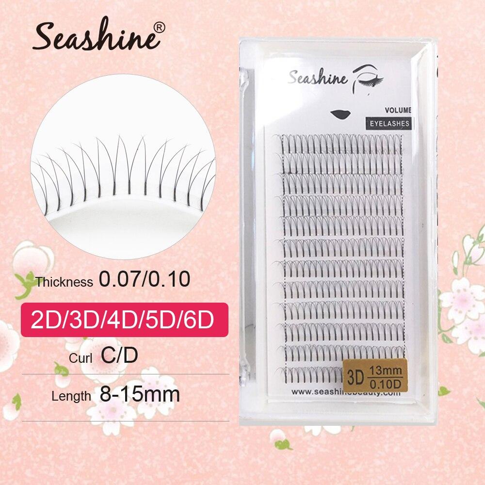 Ресницы для наращивания Seashine, кулеры объема 2D3D4D5D6D, инструменты для макияжа на русском языке, объемные ресницы
