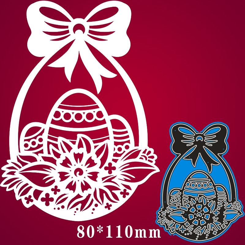 80*110mm Flower Basket with Easter Eggs Metal steel Cutting Dies DIY Scrapbooking Photo Album Embossing paper Cards