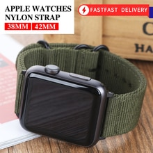 Hot Sell Nylon Watchband for Apple Watch Band Series 5/4/3/2/1 Sport Leather Bracelet 42mm 44mm 38mm