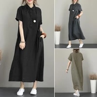 summer loose lapel womens long dress 2021 solid color high waist slimming women clothing skirt single breasted casual wear