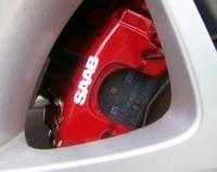for 8pcs saab brake caliper calliper decals stickers badges 900 96 99 90 9000 9 3 9 5 car styling