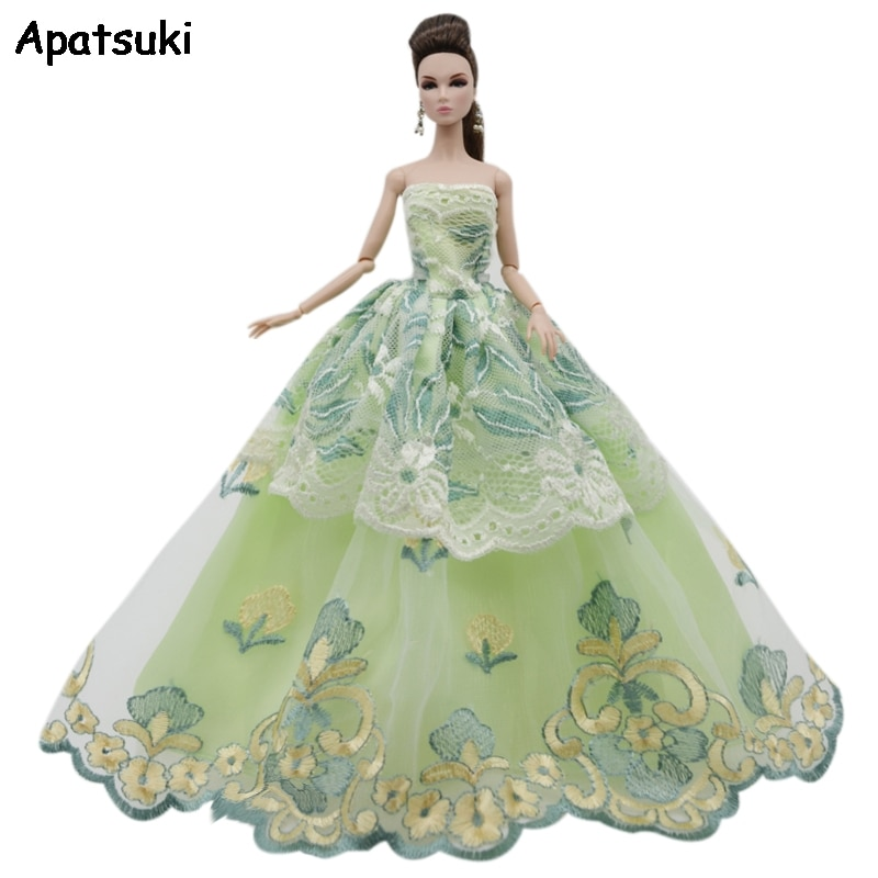 Yellow Green Flower Lace Wedding Dress For Barbie Doll Outfits Multi-layer Clothes Party Gown For 1/6 BJD Dolls Accessories Toys
