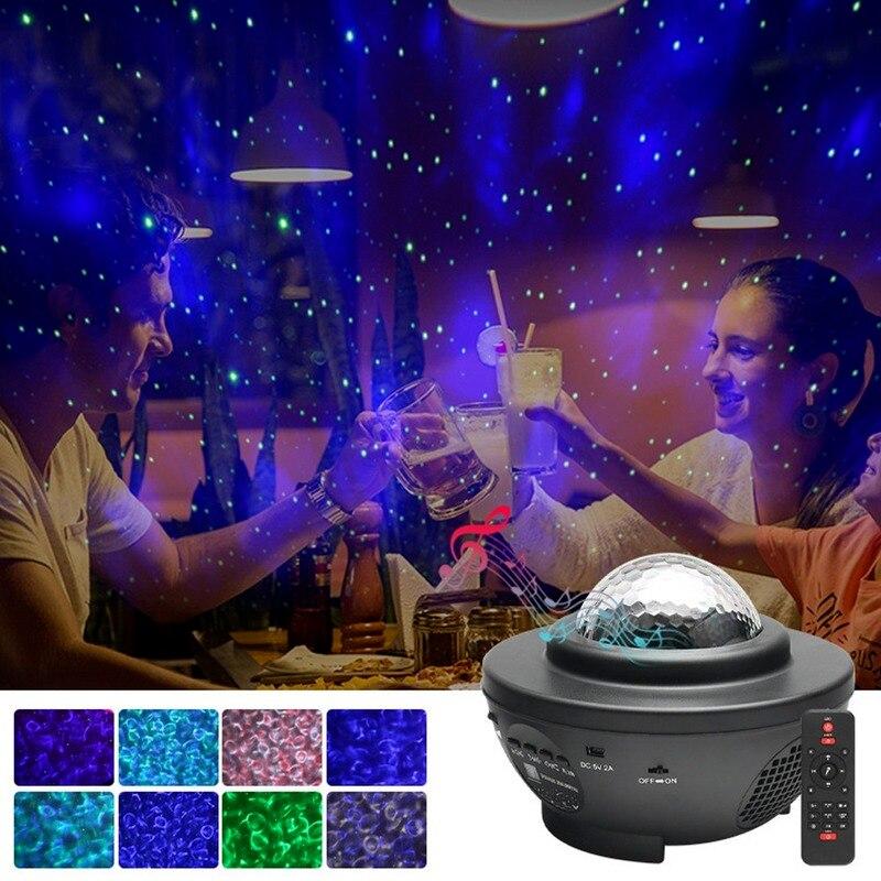 Светодиодный Звездный Ночной светильник, музыкальный Звездный водяной волновой светодиодный проектор, USB Bluetooth проектор, проектор со звуко...