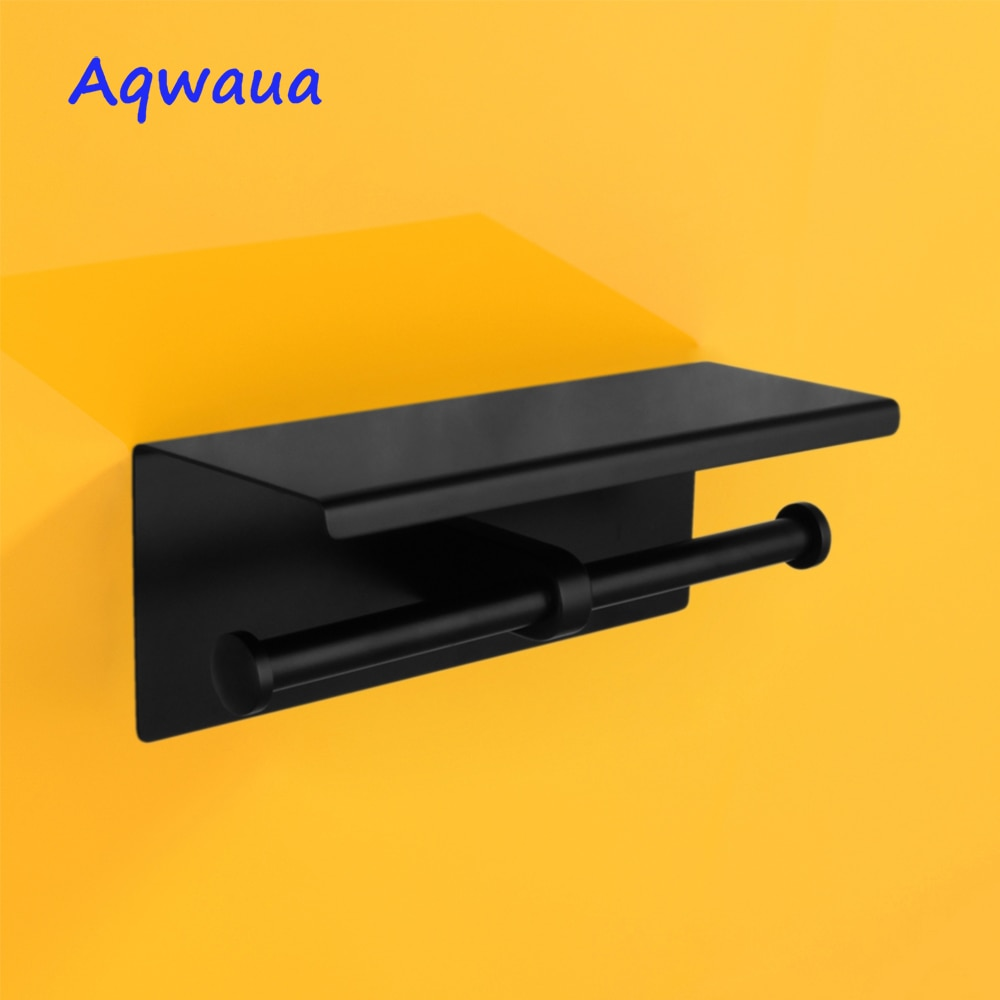 Aqwaua الأسود حامل ورق المرحاض الحائط مزدوجة لفة SUS304 الفولاذ المقاوم للصدأ عالية الجودة اكسسوارات الحمام