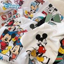 Женская футболка с Микки и Минни Маус Disney 2020, короткая летняя футболка с круглым вырезом, белая свободная футболка