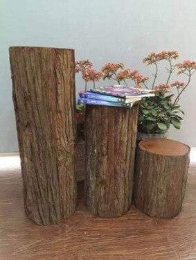 3 uds., tocones de árbol, simulación de madera pastoral, accesorios de boda de bosque, exhibición de jardín exterior, plinth de decoración de carreteras de boda