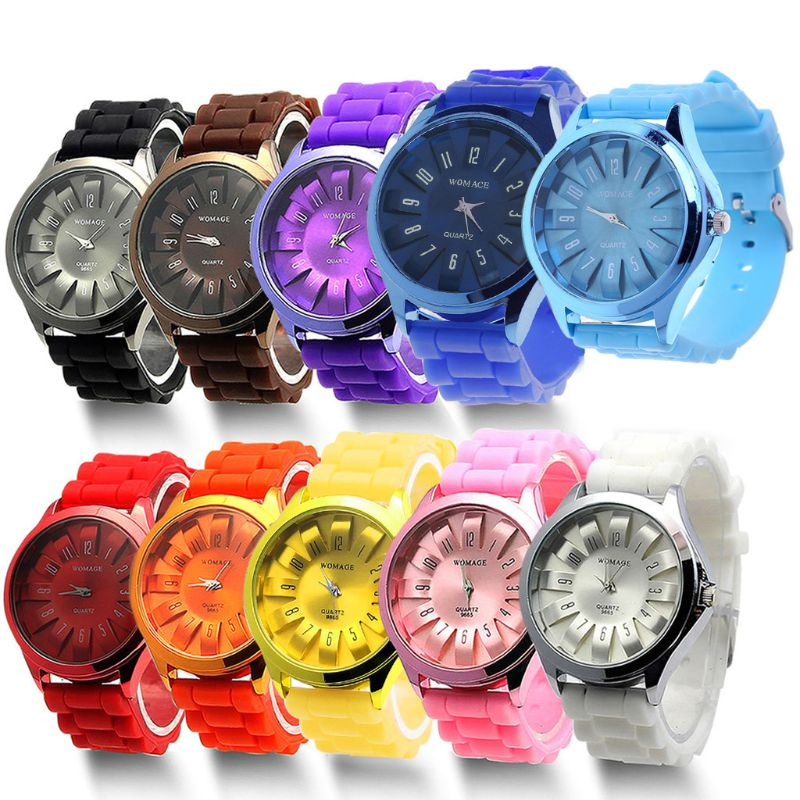 20mm coffee brown silicone jelly rubber unisex watch band straps wb1072s20jb Y1UE Gift Fashion Unisex Jelly Gel Quartz Sports Wrist Watch Geneva Silicone Rubber