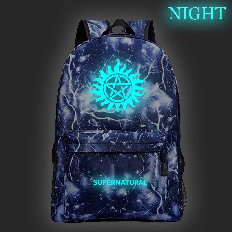 Hot Supernatural Luminous Backpack Winchester Bros Sam Dean Boys Girls School Rucksack Men Women Teens Travel Bag недорого