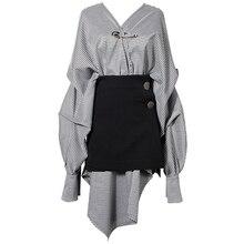 Femmes Plaid chemise robe asymétrique surdimensionné épingles lâches déco poids lourd + taille haute jupe deux pièces ensemble