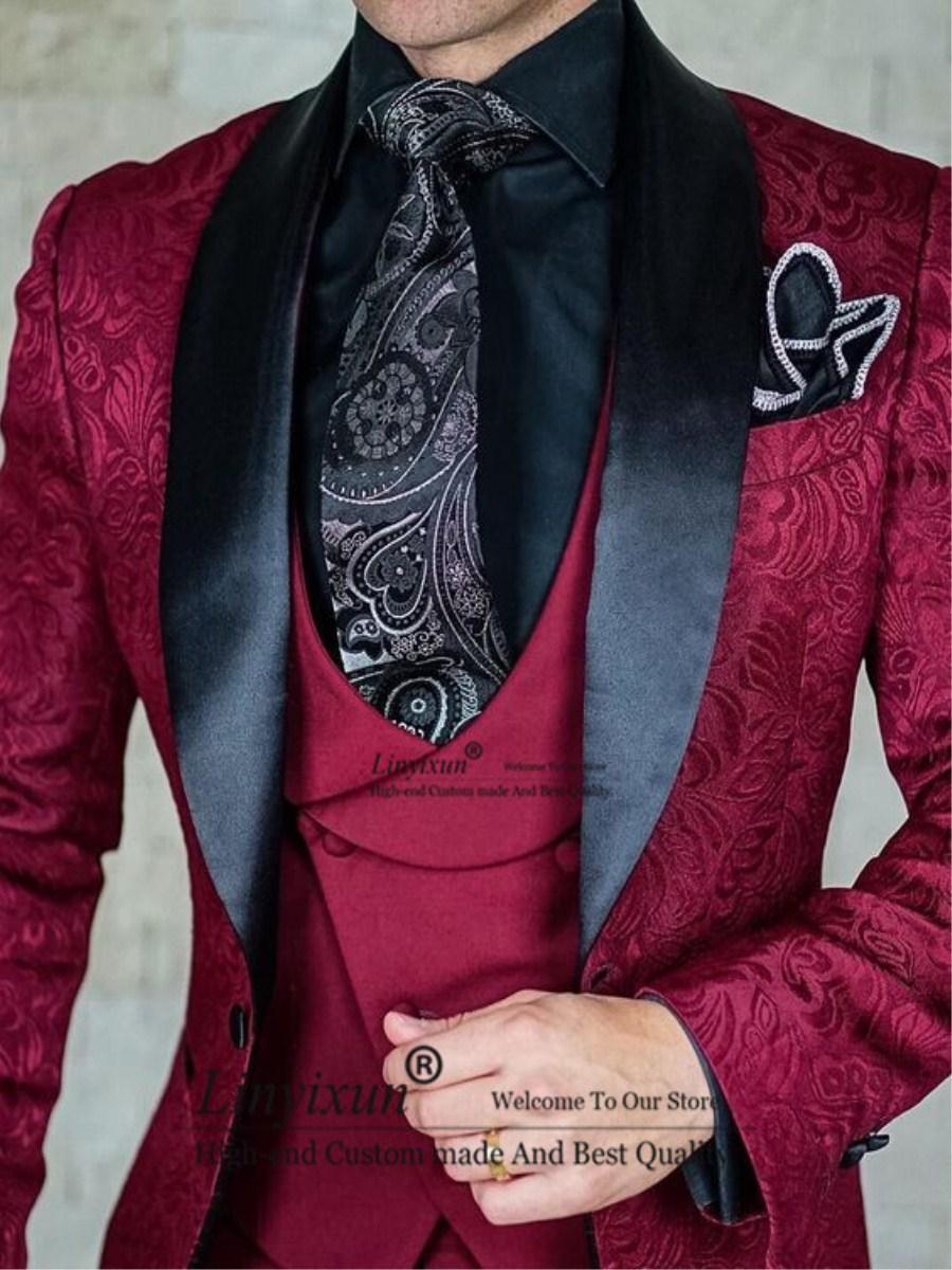 بدلة زفاف أنيقة للرجال باللون العنابي ، بدلة سهرة ضيقة ، 3 قطع ، للعريس ، التخرج ، سترة جاكار ، Terno Masculino ، 2020