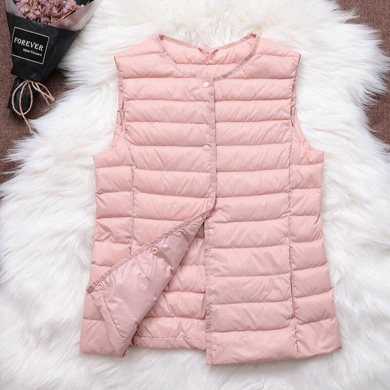 Inverno de Ultra Leve Para Baixo Colete Moda Feminina Sem Mangas Colete pato Branco para baixo Casaco Quente Para Baixo Casaco Jaqueta Plus Size Colete