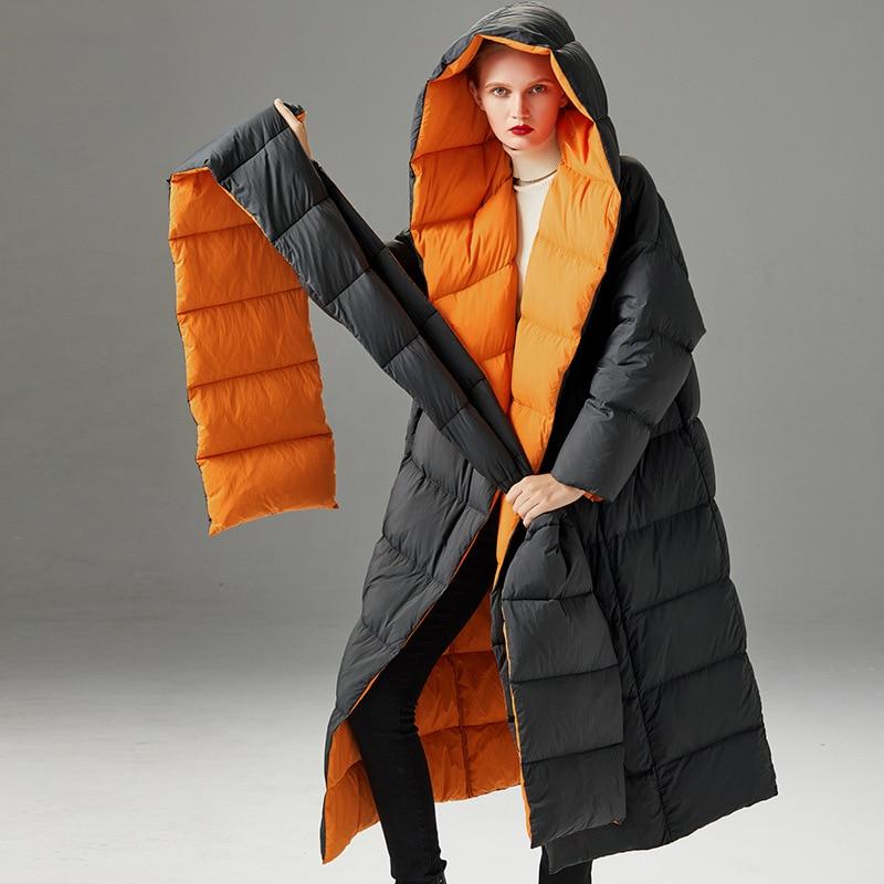 Women down coats luxury autumn winter warm fashion 90% white duck down Jackets Female lady long puffer hooded casual black belt