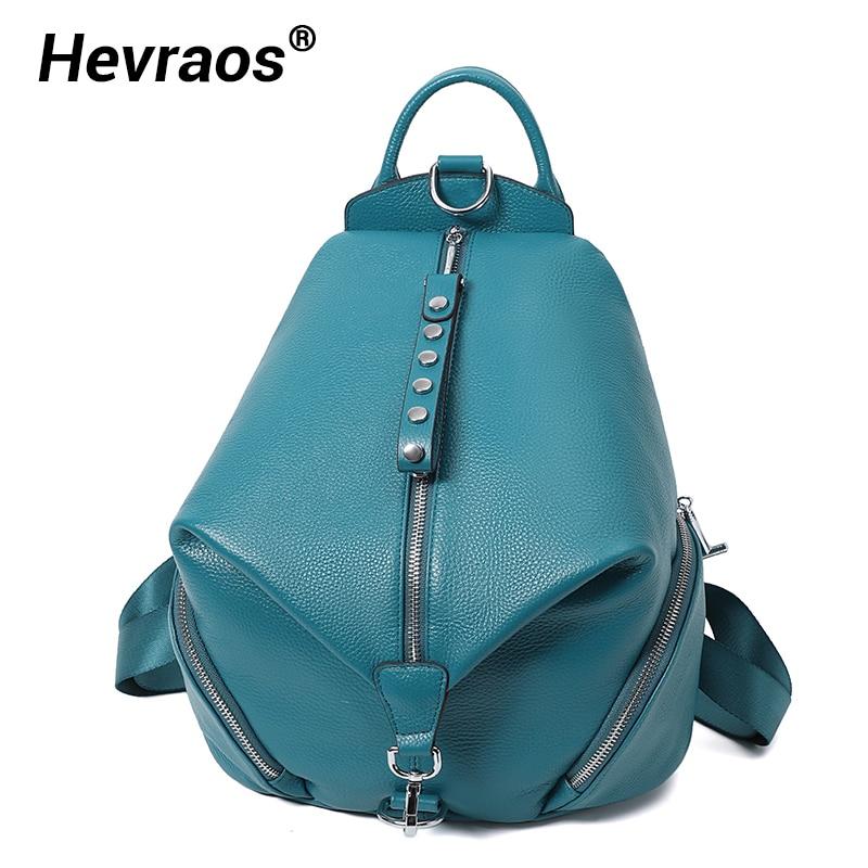 Bolsas de Escola Anti-roubo para Meninas Mochila Feminina Design Multifunction Adolescentes Couro Genuíno Casual Shouder Viagem Packbag 2021
