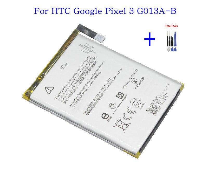 1 batería de repuesto para teléfono 2915 mAh/G013A-B Wh para baterías HTC Google Pixel 3 + Kits de herramientas de reparación