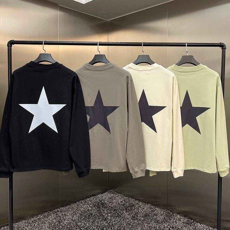 Свитшот мужской с длинным рукавом, Модный брендовый Свитшот Джерри Лоренсо с принтом пять острых звезд, в стиле хип-хоп, свободный длинный р...