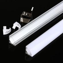 DHL 10-100 pièces LED canal en aluminium 1m 12mm avec pour 5050 5630 bande de LED, angle de 45 degrés de Style V, couverture laiteuse/transparente