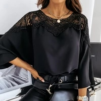 fridayin 2021 autumn new women loose solid color long sleeved lace flower pullover chiffon shirt v neck black stitching top lady