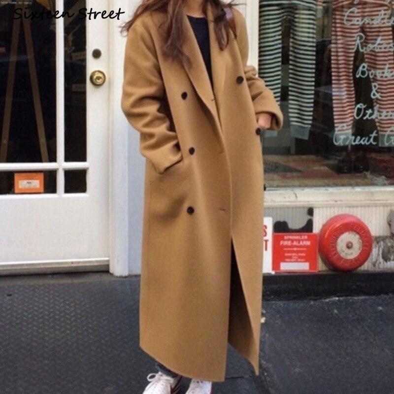 سترة صوفية طويلة كلاسيكية للنساء ثخن وخلطات كبيرة معاطف نسائية مزدوجة الصدر ملابس عصرية كورية