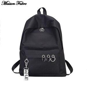 Maison Fabre Women's Fashion Nylon Backpack Women Ring Decoration Shoulder Bookbags Satchel Backpack Travel