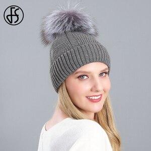FS 2020 Knitted Women Beanie Real Raccoon Fur Pompom Hat Rabbit Skullies Beanies Fashion Gray Ski Cap Winter Velvet Bonnet