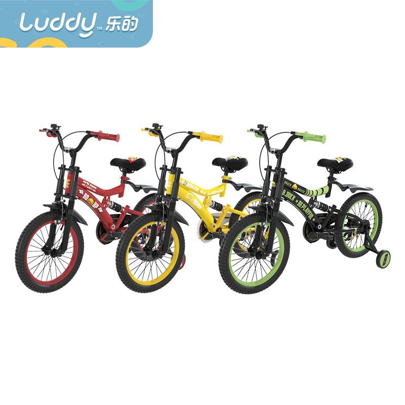 LUDDY B.duck Little yellow duck children's bicycle 16 inch four-wheel bicycle 4-8 years old bicycle with shock absorption enlarge