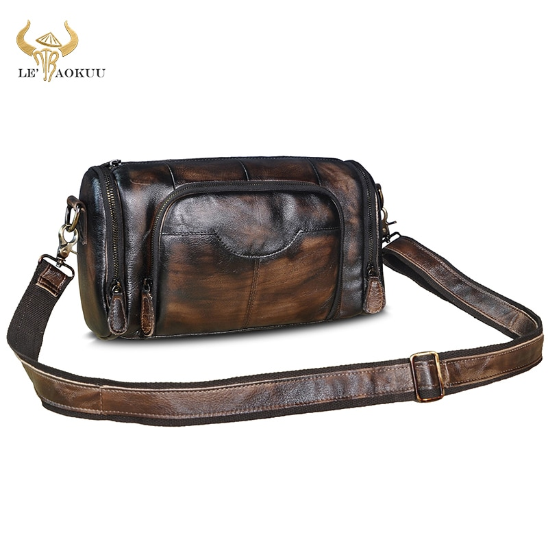 Genuine Leather Male Design Travel College Shoulder Messenger Crossbody bag Fashion Mochila Satchel