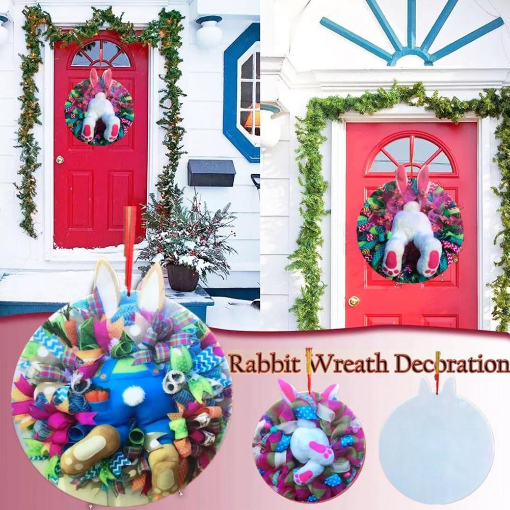 Easter Bunny Decoration Wreath Holiday Door Decor Pendent Round Adorable Rabit Garland Hanging Ornament for Easter Gift