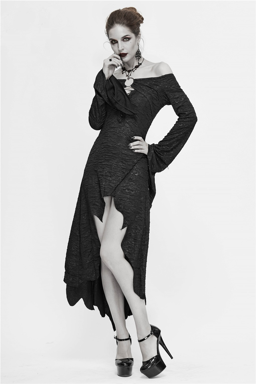 Autumn Black Flare Sleeve Draped Elegant Party Dress Irregular Shape Off Shoulder Women Dress Gothic Sexy Midi Dress