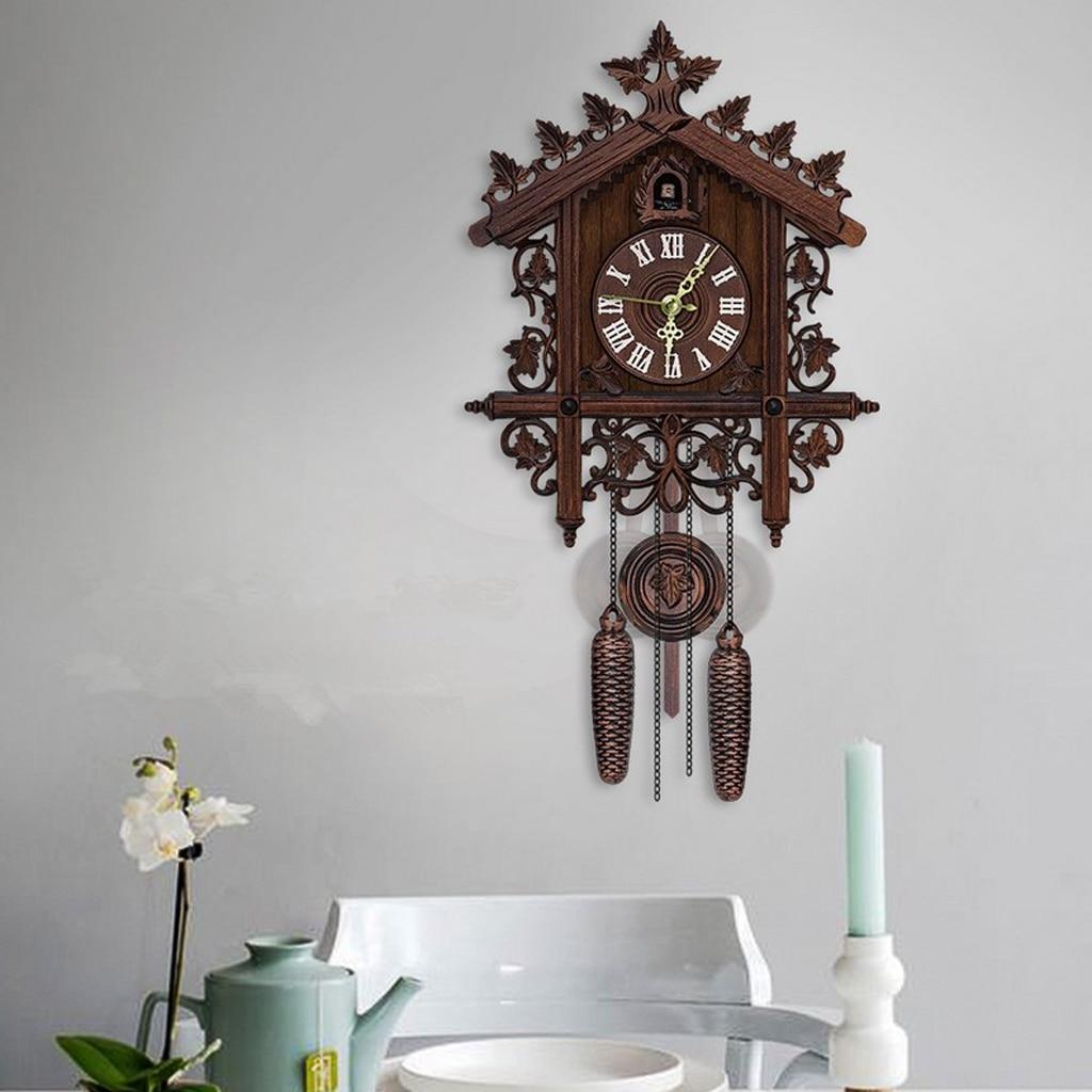 Reloj de pared colgante con movimiento, reloj de cuco, Puntal de madera