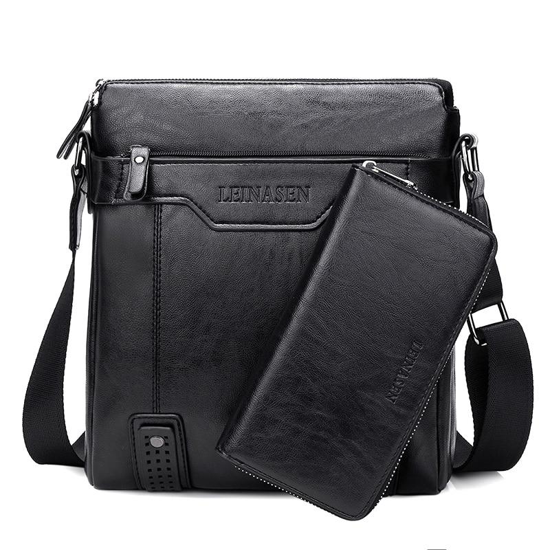Soft Top Leather Crossbody Shoulder Bag+Clutch for Man Business Tote Bags Fashion Brand Men Messenge