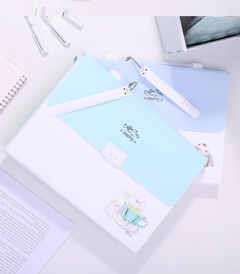 Carpeta A4 13 capas bolsa de órgano información libro clasificación prueba bolsa de papel caja de almacenamiento multifunción papelería K1462 J