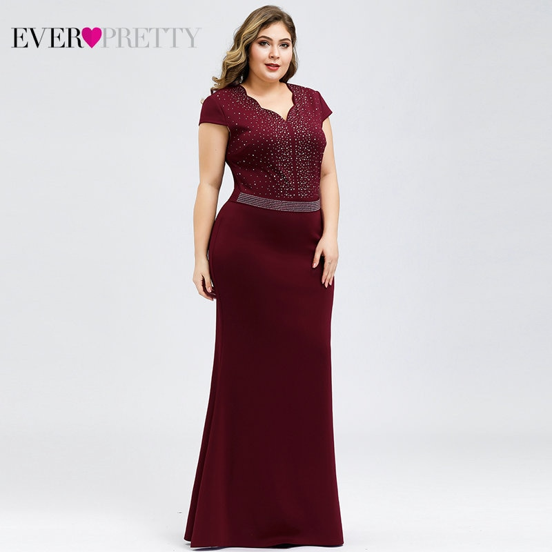 Plus Size Black Evening Dresses For Women Ever Pretty Mermaid V-Neck Beaded Elegant Formal Party Gowns Robe De Soiree Femme