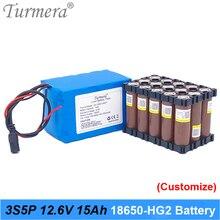 Batterie au Lithium Rechargeable 3S5P 12V 15Ah utilisation batterie HG2 3000mAh avec 40A BMS pour alimentation sans interruption 10.8V 12.6V