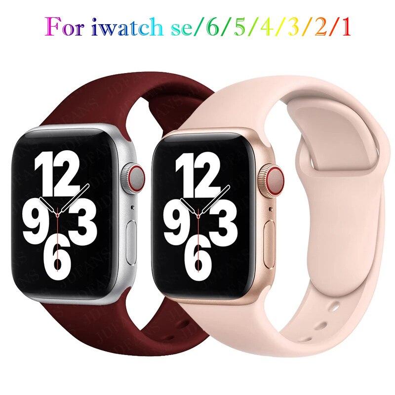 Ремешок силиконовый для apple Watch band 44 мм 40 мм 38 мм 42 мм, резиновый браслет для смарт-часов iWatch se 6 3 4 5, черный розовый ремешок для смарт часов eva ava001 для apple watch 38 мм розовый