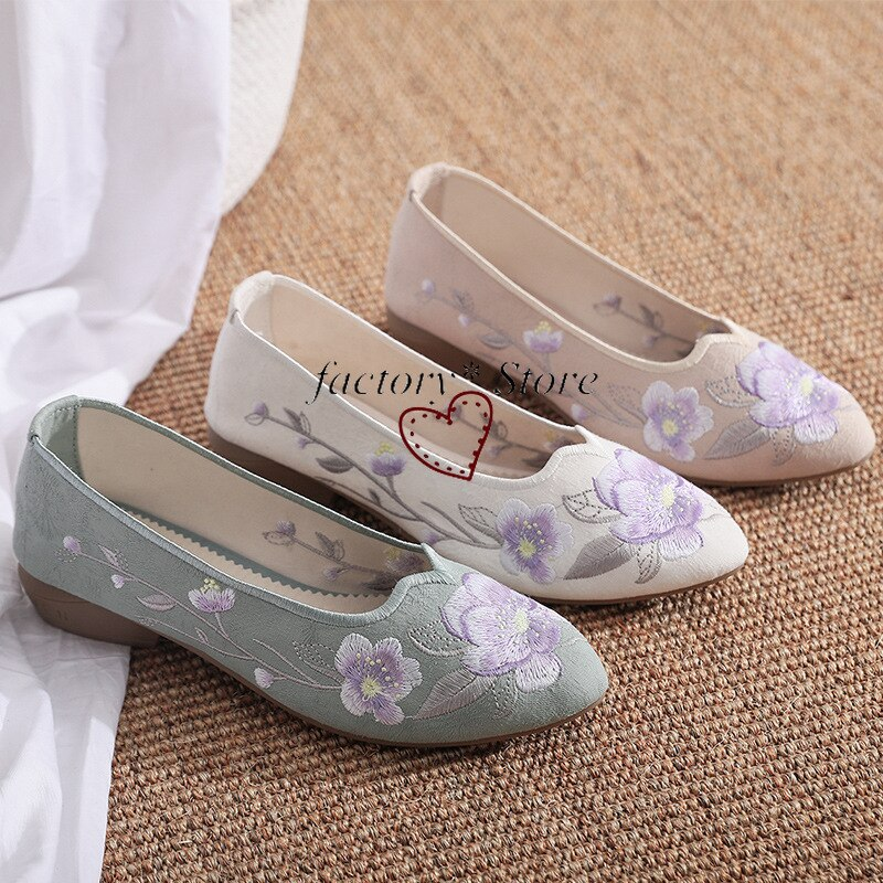 أحذية الهانبوك الهانبوك أحذية الرقص المطرزة الأحذية النسائية العتيقة مكتنزة الكعب tpr أنثى خمر واحدة