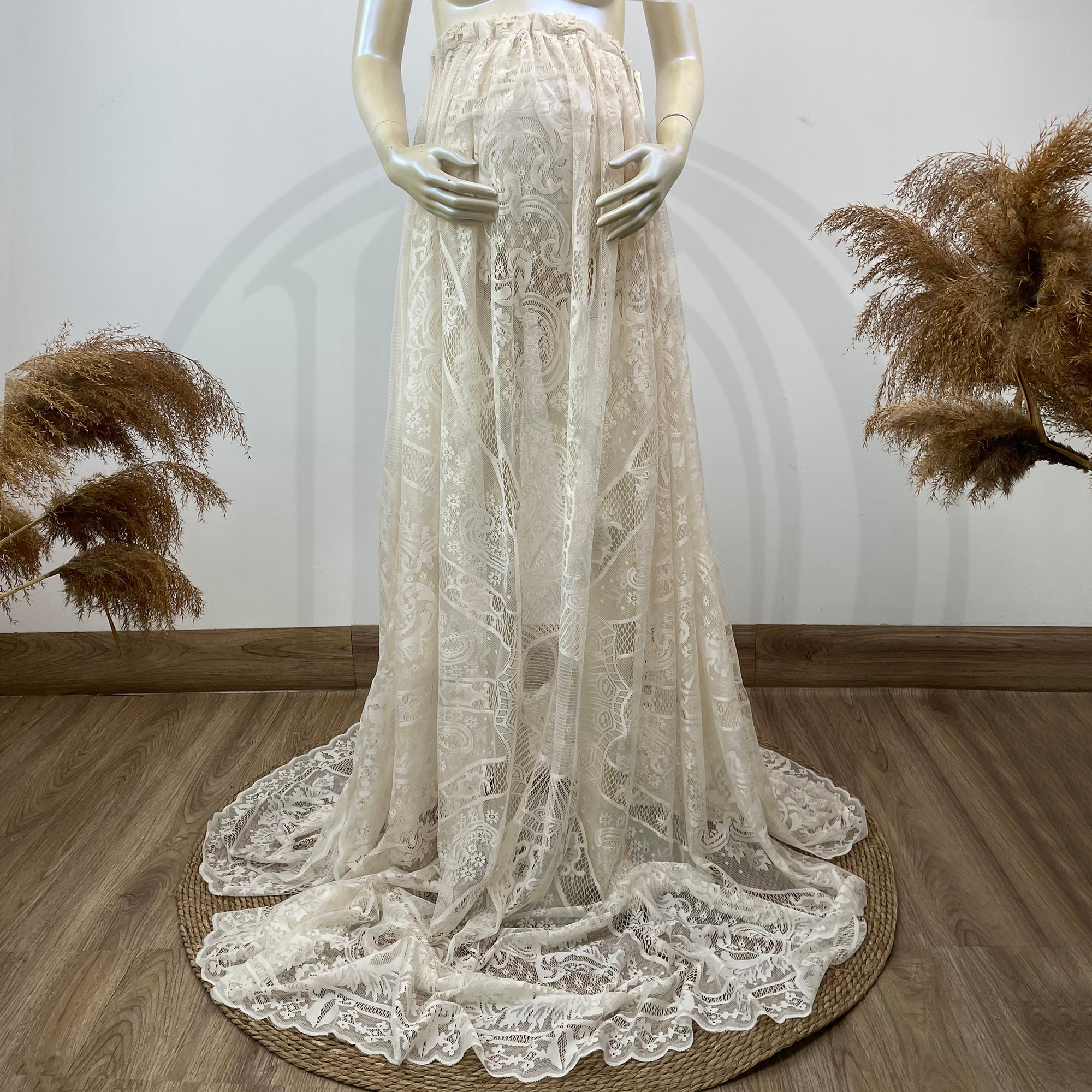 Photo Shoot Props Maxi Long Vintage Lace Maternity Skirt Pregnant Gown Party Evening Robe for Women Photogrpahy Accesssories