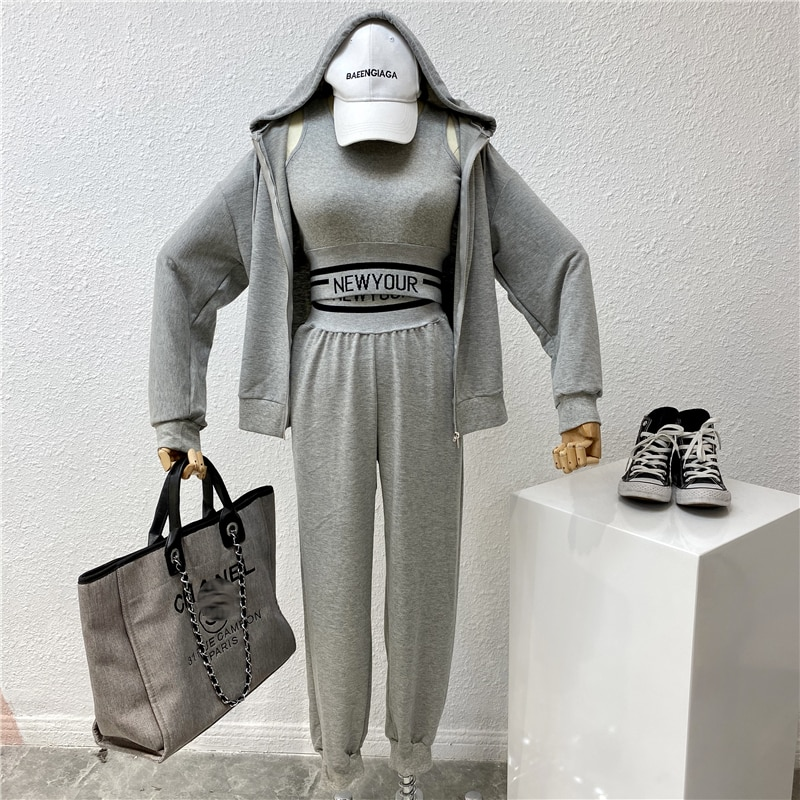 2020 Spring Women Casual Fitness Gym Tracksuit Suit Set Short Design Crop Tops Sweatshirt + Tank Top + Loose Elastic Pants TZ33